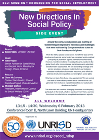 New Directions in Social Policy - A Side Event at the Commission for Social Development