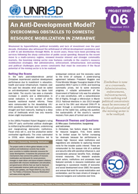 An Anti-Development Model? Overcoming Obstacles to Domestic Resource Mobilization in Zimbabwe (Project Brief)