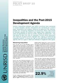 Inequalities and the Post-2015 Development Agenda (Research and Policy Brief)