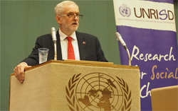 """Putting Social Justice Front and Centre"": Jeremy Corbyn Speaks on UNRISD Panel with ITC's Arancha Gonzalez and UNITAR's Nikhil Seth"