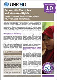 Democratic Transition and Women's Rights: Understanding Gender-Egalitarian Policy Change in Indonesia (Project Brief 10)