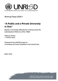 """A Public and a Private University in One"": Equity in University Attendance in Kenya since the Liberalization Reforms of the 1990s"