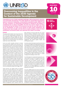 Overcoming Inequalities in the Context of the 2030 Agenda for Sustainable Development