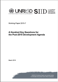 A Hundred Key Questions for the Post-2015 Development Agenda