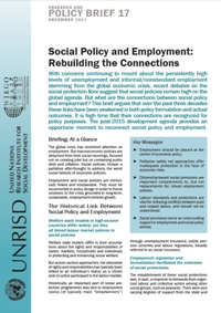 Social Policy and Employment: Rebuilding the Connections (Research and Policy Brief)