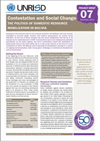 Contestation and Social Change: The Politics of Domestic Resource Mobilization in Bolivia (Project Brief)