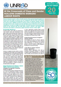 At the Crossroads of Class and Gender: Realizing Domestic Workers' Labour Rights (Research and Policy Brief 20)