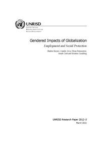 Gendered Impacts of Globalization: Employment and Social Protection