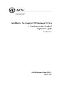 Neoliberal Development Macroeconomics: A Consideration of its Gendered Employment Effects