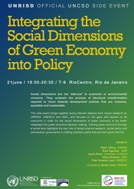 @ Rio+20 / Earth Summit Official Side Event - Integrating the Social Dimensions of Green Economy into Policy